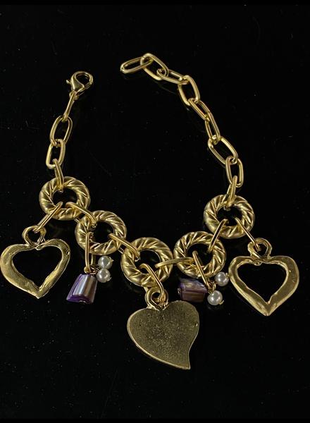 three heart bracelets