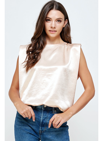 Satin Muscle Padded T-Shirt Top
