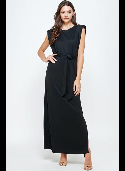 Shoulder Padded Side Slit Knit Maxi Dress