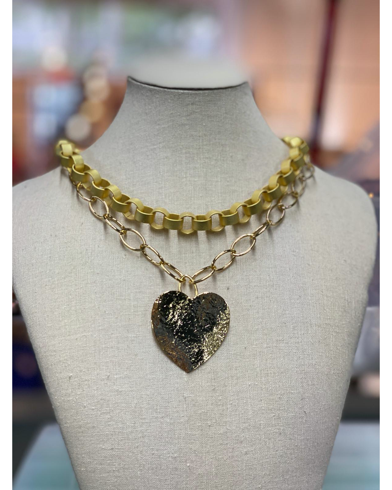 Double Chain and heart by 4 Soles