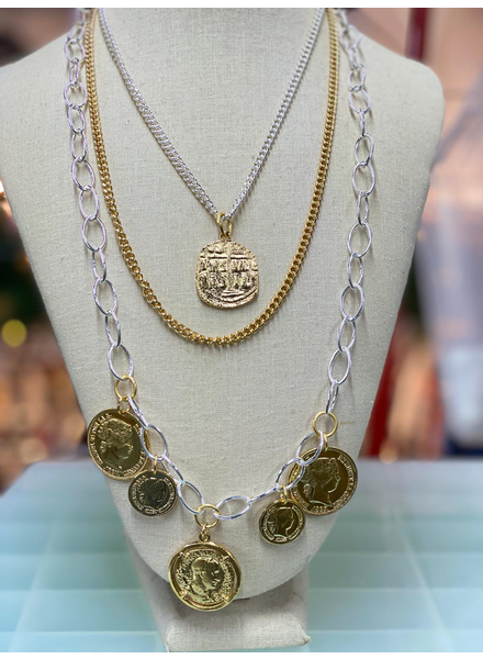 Multi coins 3 layers necklaces