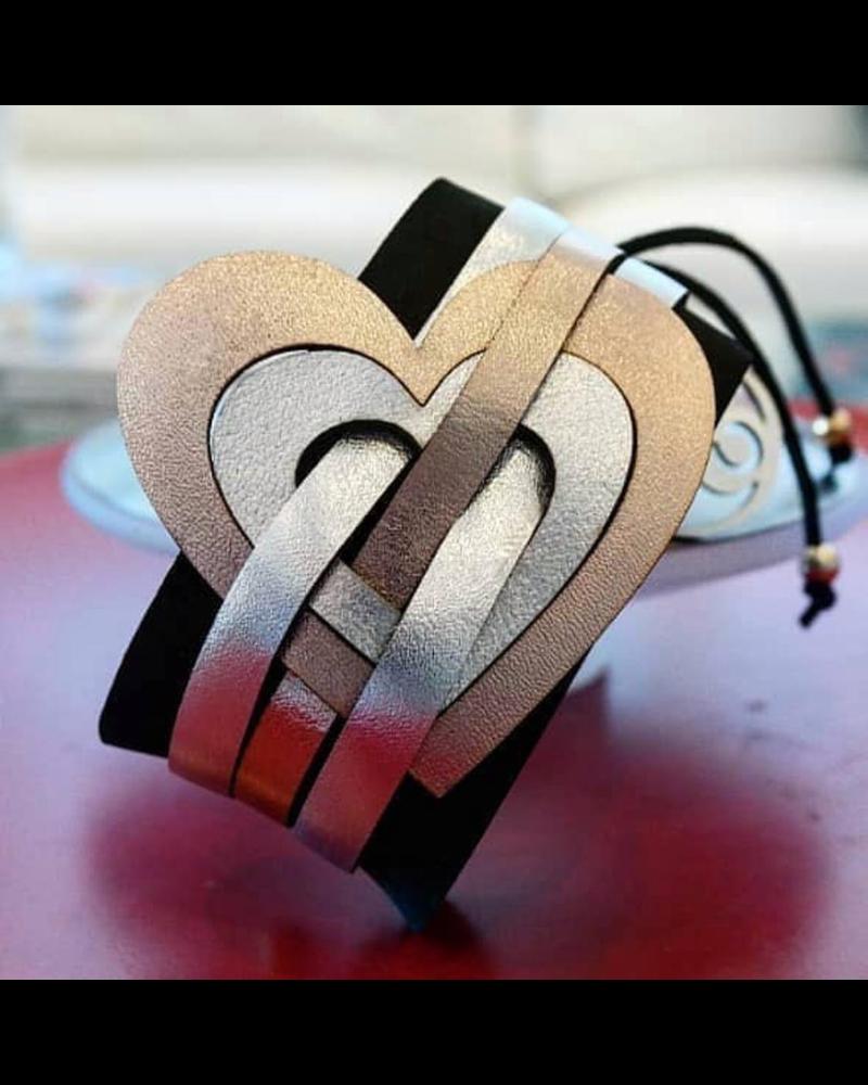 Heart leather  Bracelet  Handmade