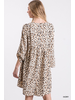 Leopard Print Baby Doll Dress with Pockets
