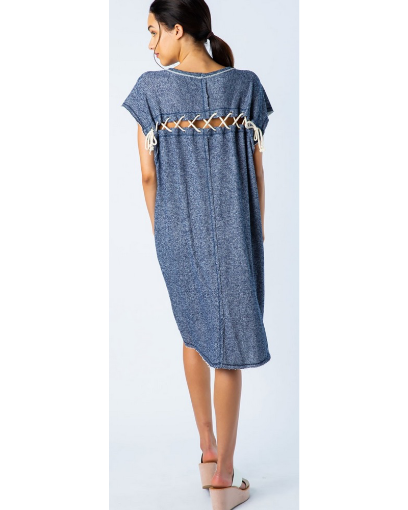 French Terry Lace Up Back Tunic Shirt Dress