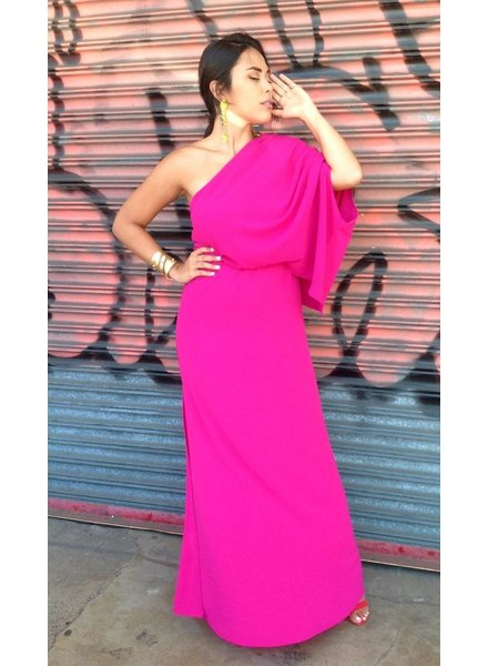 Textured Solid Slouchy One Shoulder Maxi