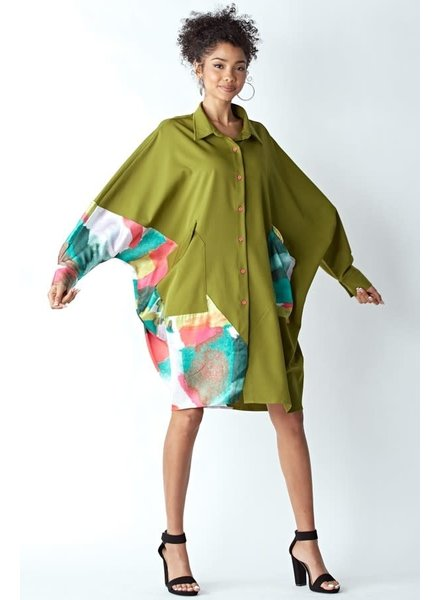 EXTRA OVERFIT SHIRT DRESS WITH POCKETS Over Size Plus