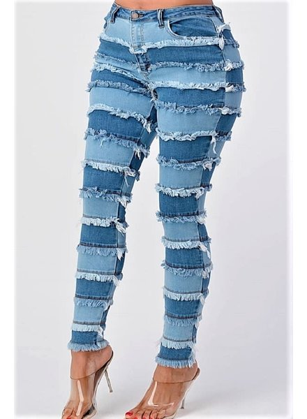 Plus Size High Rise Patchwork Skinny Jeans