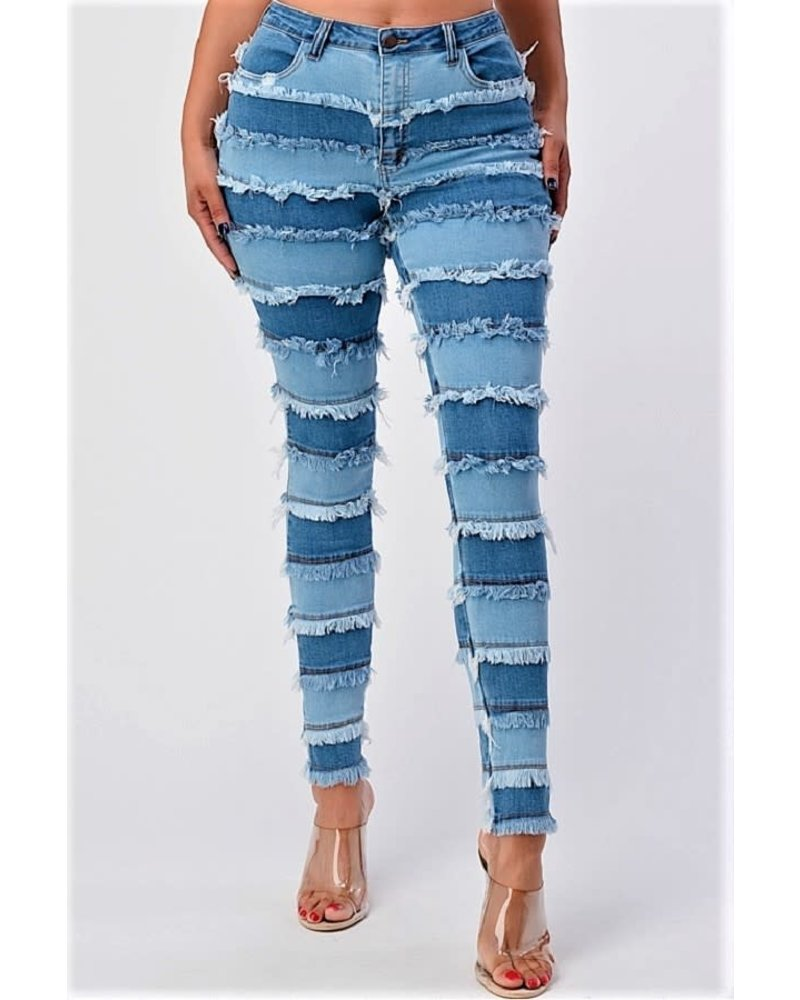 High Rise Patchwork Skinny Jeans