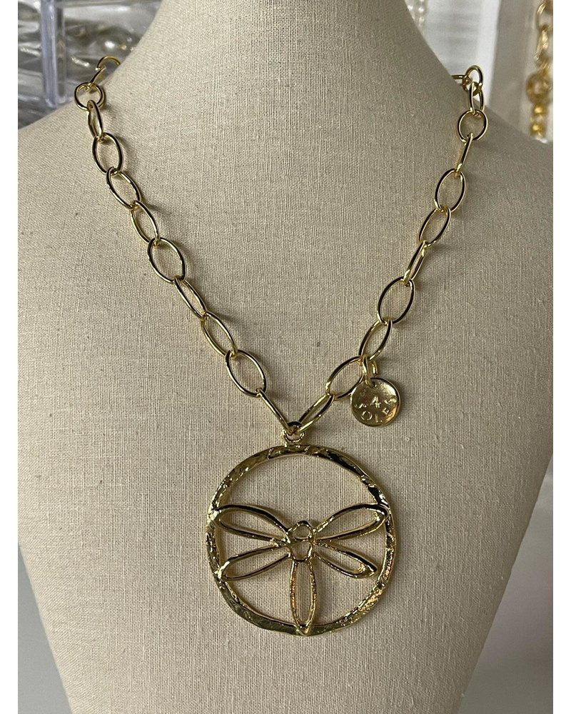 Drangonfly Necklace Gold Plated