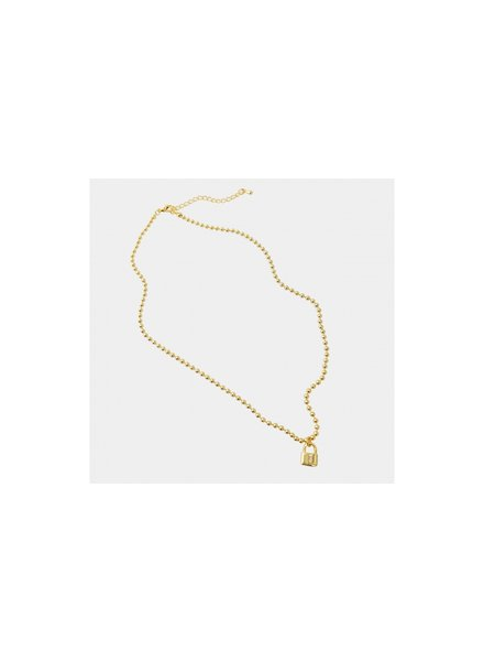 Ball Chain Necklace with Lock Gold