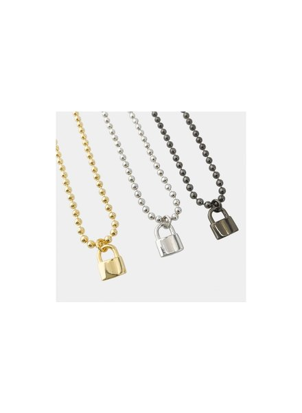 Ball Chain Necklace with Lock Silver