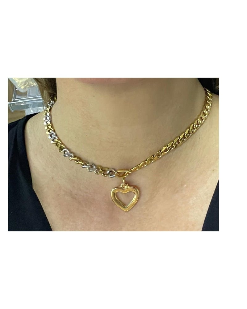 2 Tone Necklace Heart