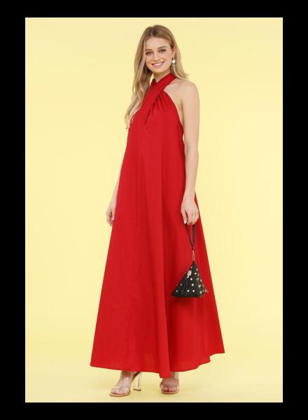 Sleeveless V-Neck Maxi Dress Red Small