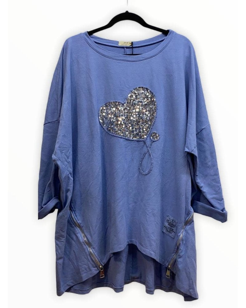 Blue Top Sequin Heart One size
