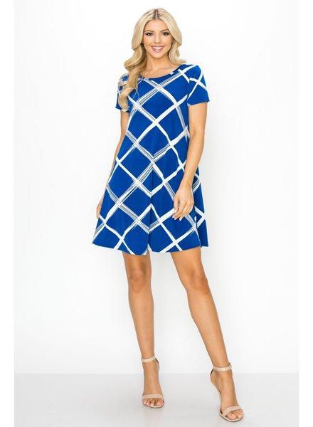 Royal Blue & Ivory Windowpane Swingy Tee Dress