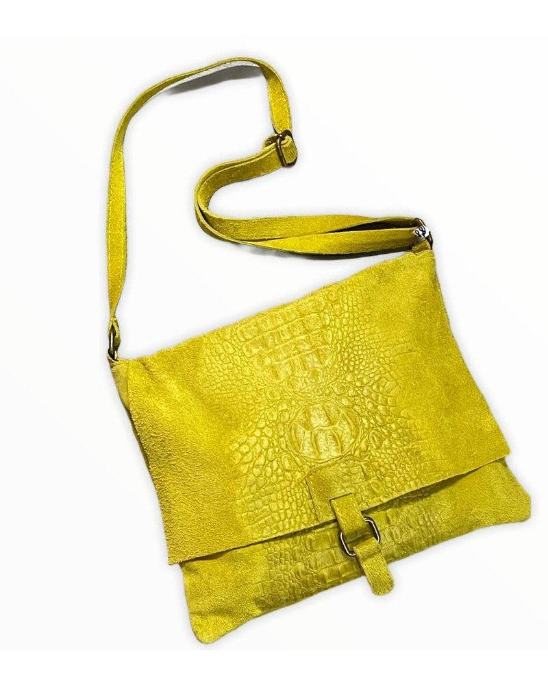 Cross Body Leather Bag Yellow