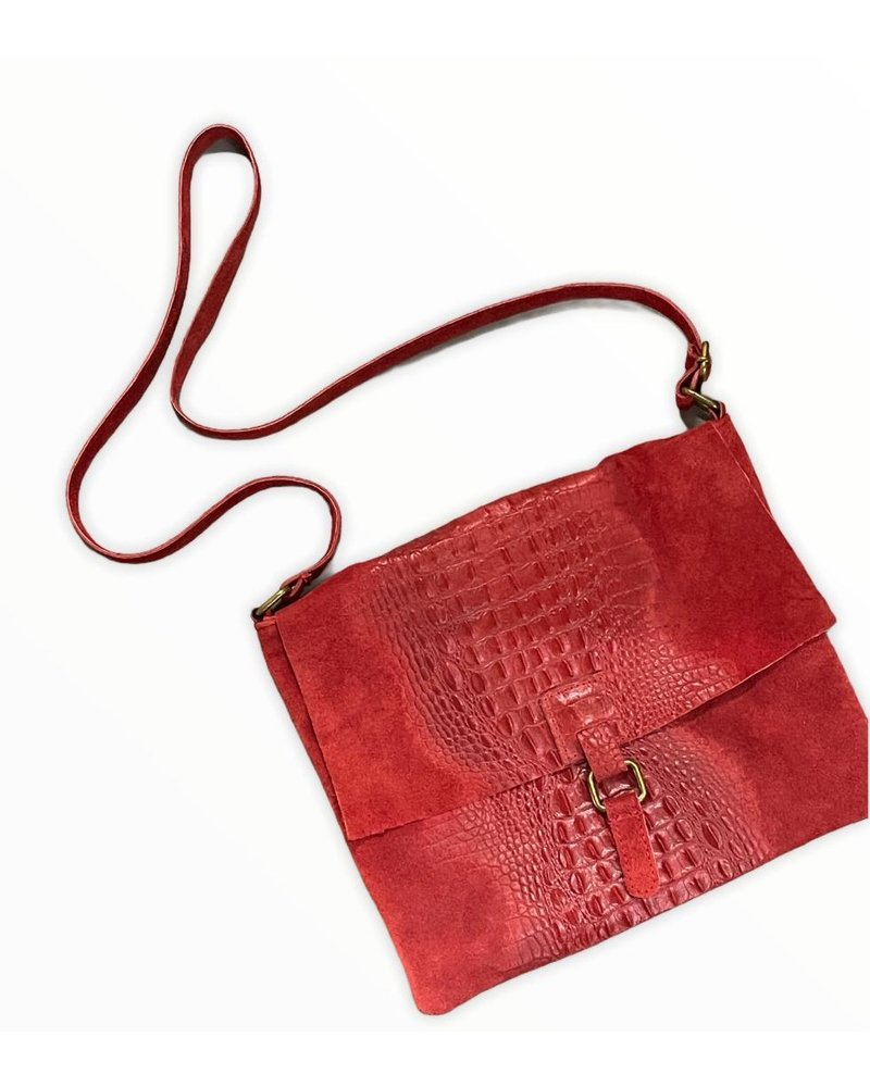 Cross Body Leather Bag red