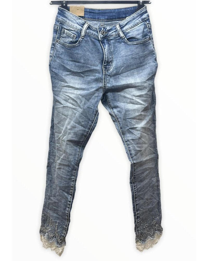 denim pants with crystals details