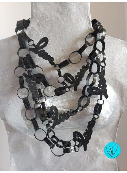 collar en leather negro love