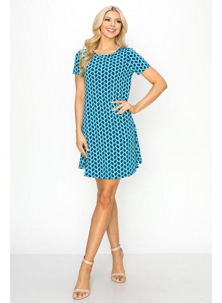 Royal Blue & Green Twist Swingy Tee Dress