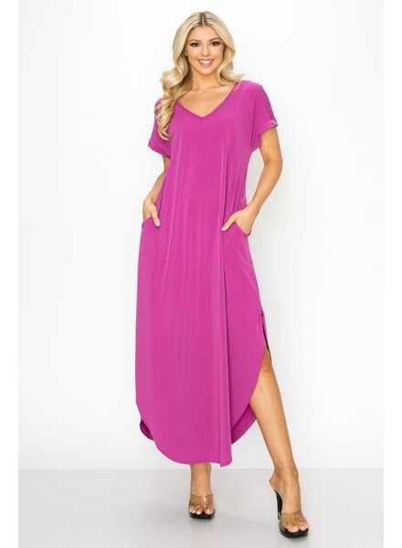 Lilac V-Neck Short-Sleeved Slit Pocket Maxi Dress