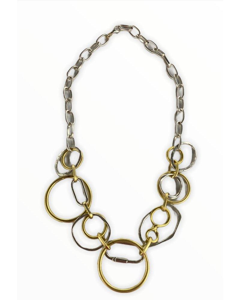 circle chocker silver and gold