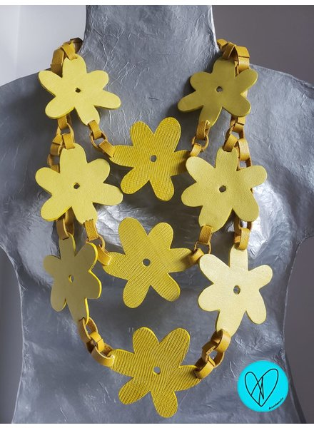 Flower Leather Necklace yellow