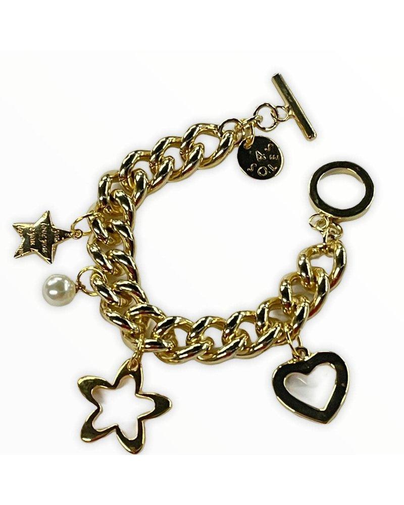 Heart & Star Bracelet Gold Plated