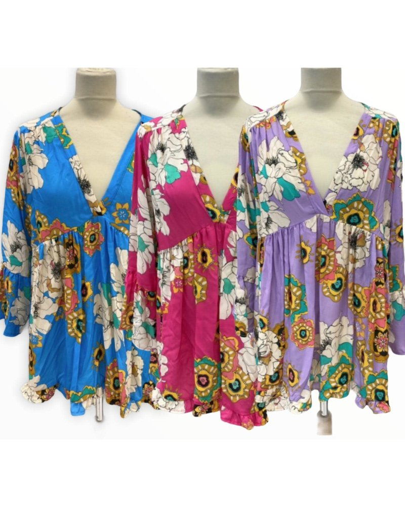 addict flower Blouse One size