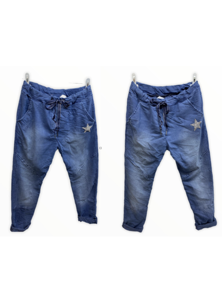 one size denim with star pants