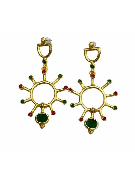 Gold Plated Green and Red Earrings