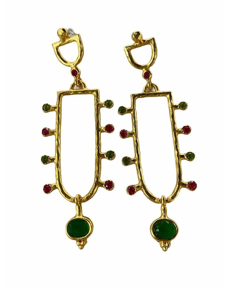 Gold Plated Earrings Green and Red Crystals