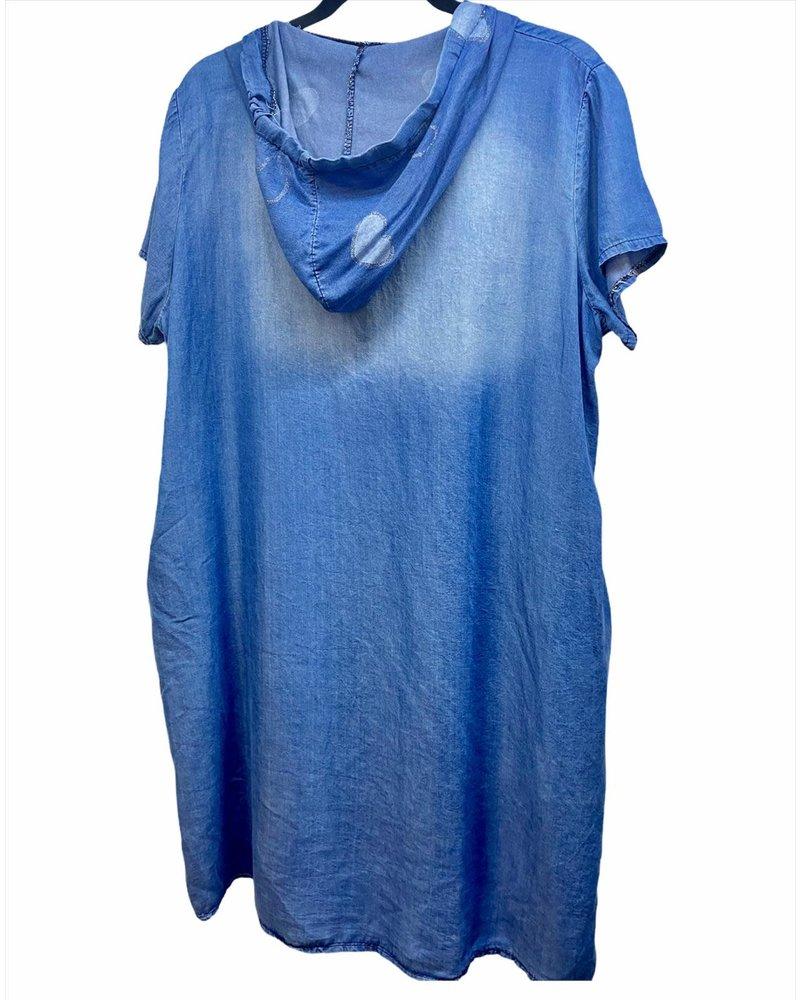 Heart Denim Dress With Hoodie One Size