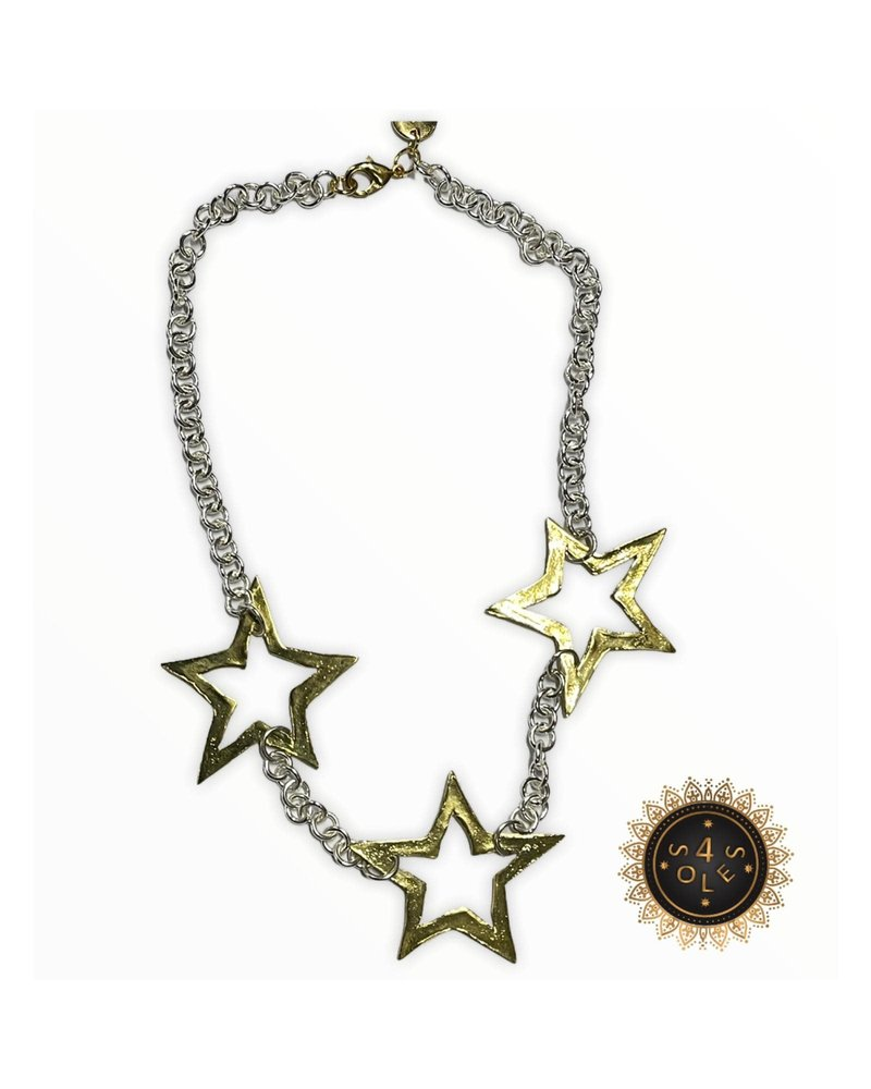 4 Soles Silver Chain with 3 Gold Plated Stars