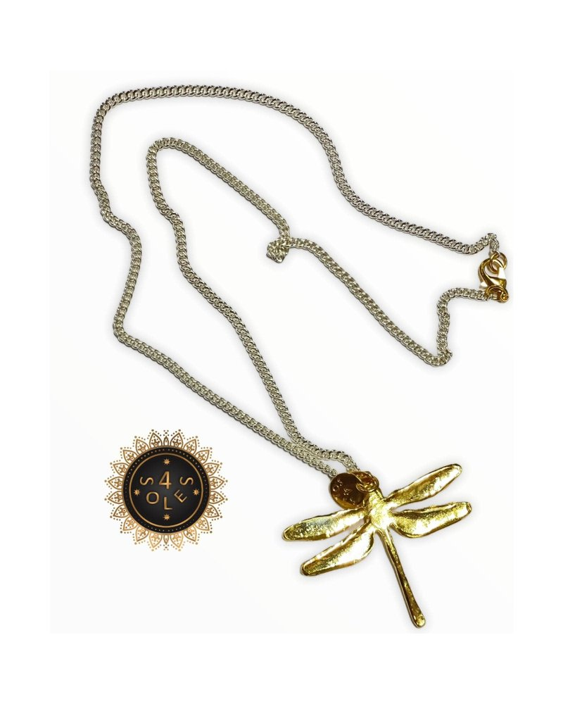 4 Soles Silver Chain with Gold Plated Libelula