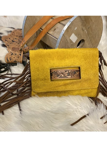 Mustard Leather with Brown Fringe Crossbody
