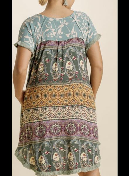 Linen Blend Paisley Back Print Round Neck Short Sleeve Dress with Pockets and Fringe Hem