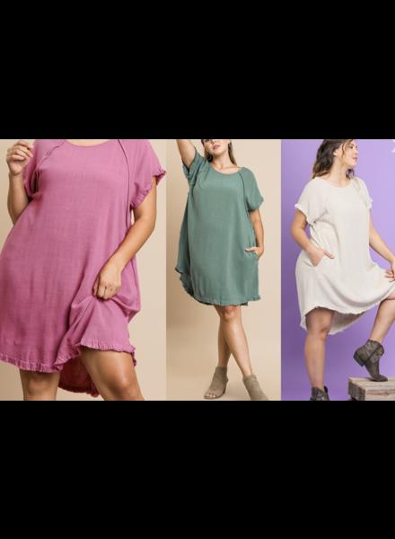 Linen Blend Round Neck Pocket Dress with Fringe Short Sleeves and a High Low Scoop Hem