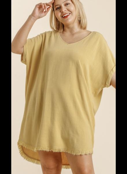 Linen Blend V-Neck Short Folded Sleeve Dress with Pockets and Round Frayed Hem