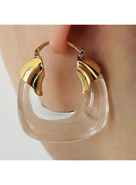 U Shape Clear Earrings
