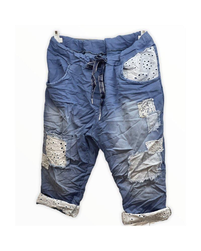 denim Short Pant with lace detail
