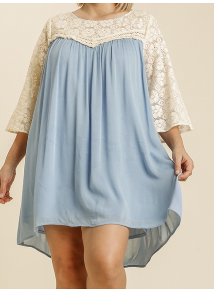 Floral Lace Round Neck 3/4 Sleeve Dress with Keyhole and Lining