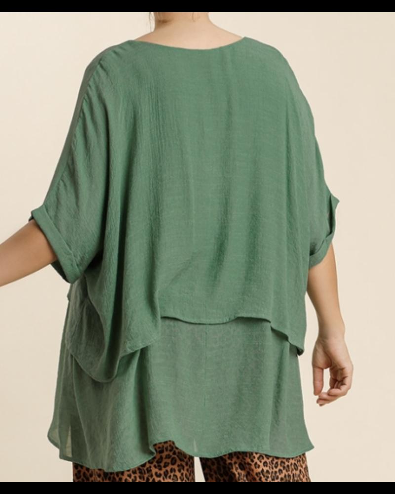 Cuffed 1/2 Sleeve Layered Tunic