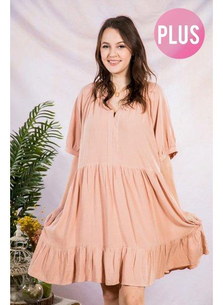 PLUS SIZE Tiered ruffle babydoll mini dress