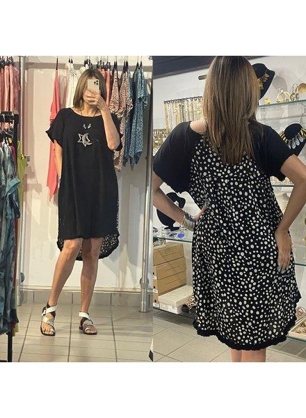 Linen Blend Short Ruffle Sleeve Round Neck Dress with Dalmatian Print Back