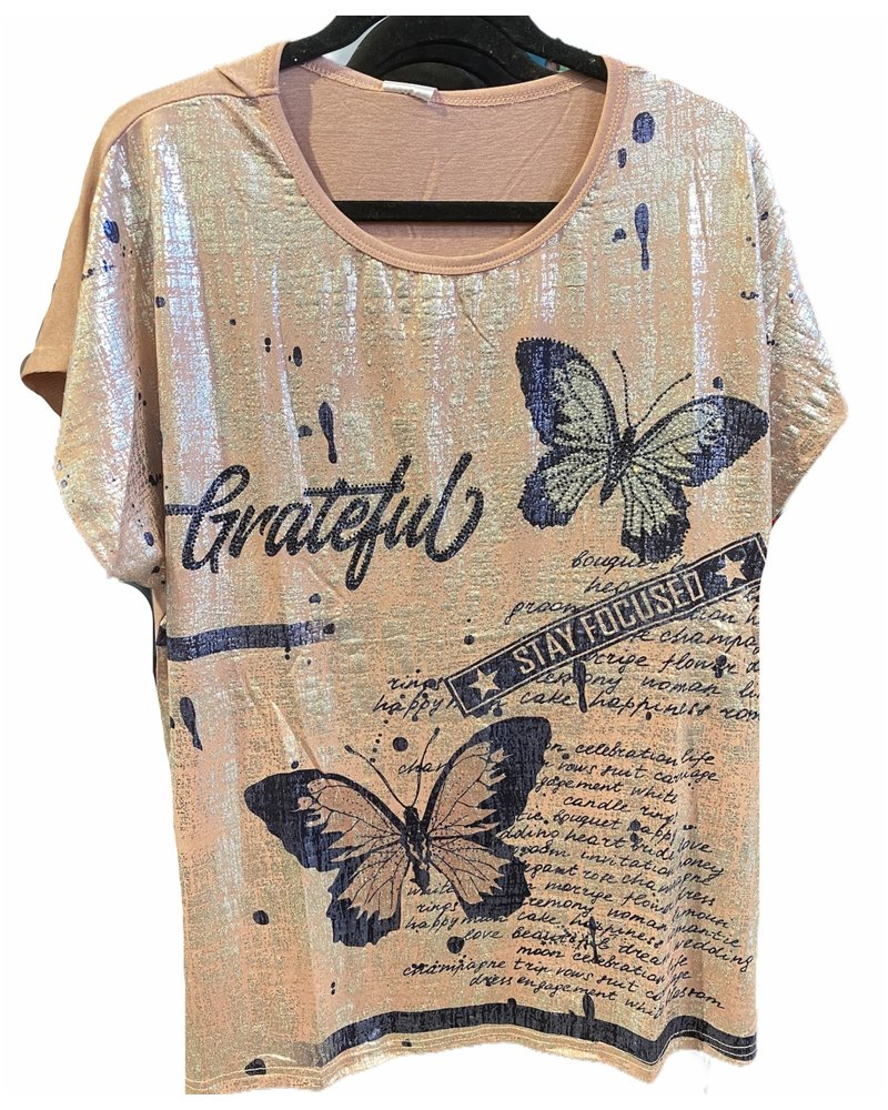 Butterfly Pink and Silver Top
