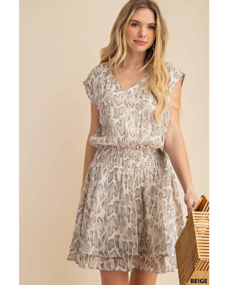 Animal Print Waist Smocking Dress
