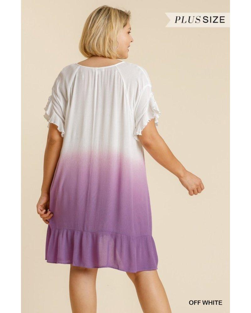Dip Dye V-Neck Short Ruffle Sleeve Dress with No Lining