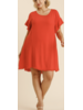 Back Cutout Detail Short Ruffle Sleeve Round Neck Dress with Frayed Hem Plus