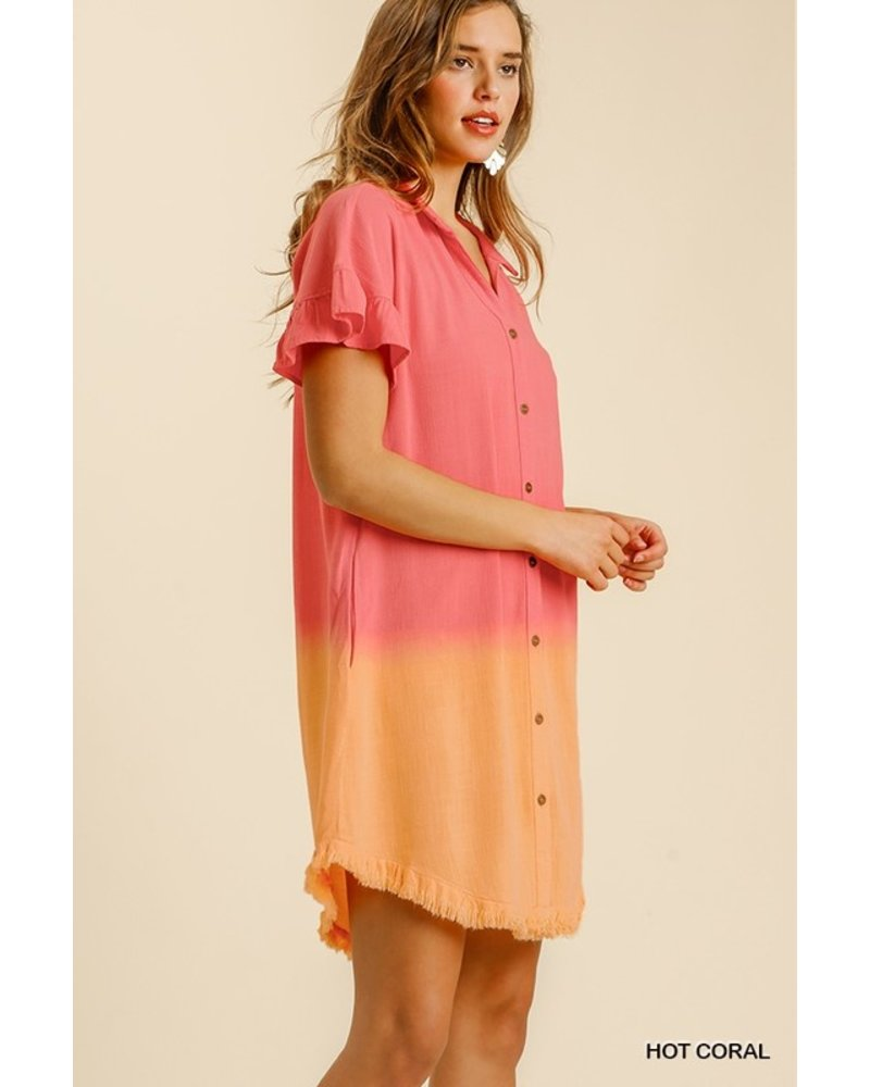 Dip Dye Button Down Ruffled Sleeve Shirt Dres